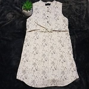 Cynthia Rawley Linen Cream floral dress Belted s4
